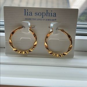 Gold Lia Sophia Hoop Earrings